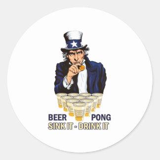 Sink it Drink it Abe Lincoln Classic Round Sticker