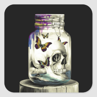 Sink or Swim, nautical skull Square Sticker
