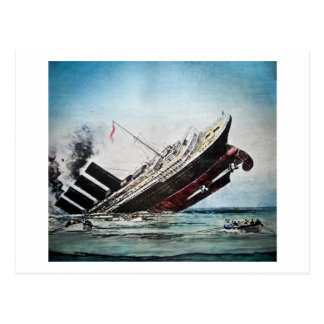 Sinking of the Titanic Magic Lantern Slide Postcard