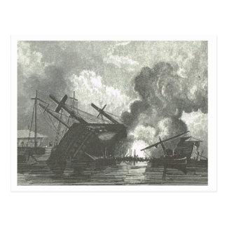 Sinking ship 1800s postcard