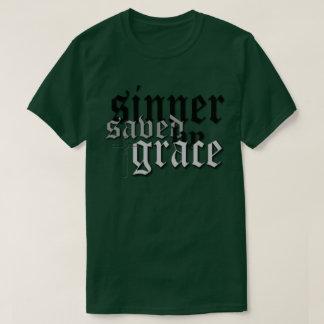 sinner saved by grace drk t var forest green T-Shirt