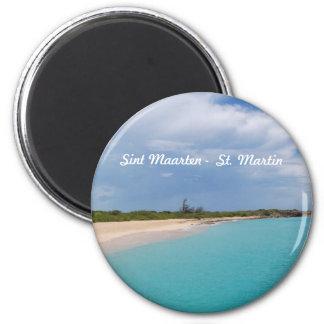 Sint Maarten - St. Martin Beach Scene 6 Cm Round Magnet