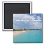 Sint Maarten - St. Martin Beach Scene Square Magnet