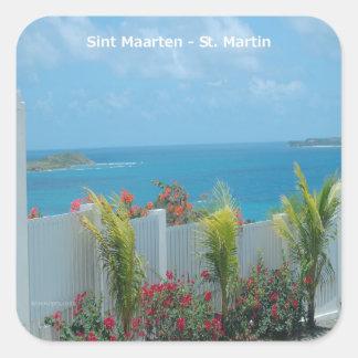 Sint Maarten - St. Martin Ocean Blue Seascape Square Sticker