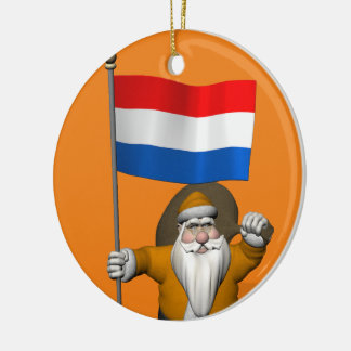 Sinterklaas With Ensign Of The Netherlands Christmas Ornament
