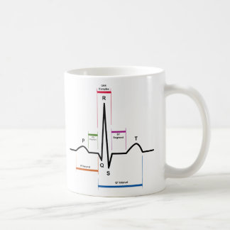 Sinus Rhythm in an Electrocardiogram ECG Diagram Basic White Mug