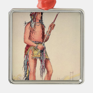 Sioux ball player Ah-No-Je-Nange Silver-Colored Square Decoration