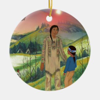 Sioux chief and son christmas ornament