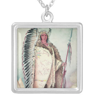 Sioux chief, 'The Black Rock' Silver Plated Necklace
