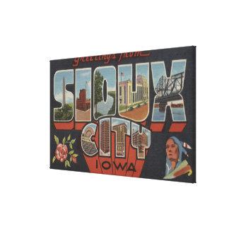 Sioux City, Iowa - Large Letter Scenes Canvas Print