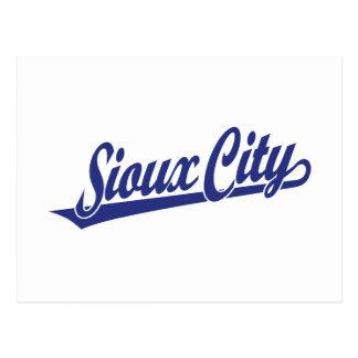 Sioux City script logo in blue Postcard