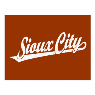 Sioux City script logo in white distressed Postcard