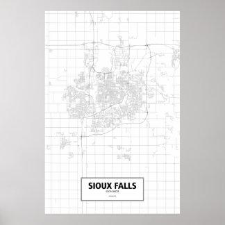 Sioux Falls, South Dakota (black on white) Poster