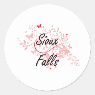 Sioux Falls South Dakota City Artistic design with Round Sticker
