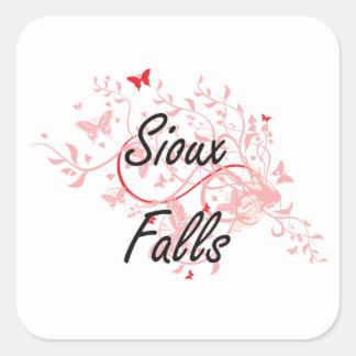 Sioux Falls South Dakota City Artistic design with Square Sticker