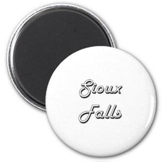 Sioux Falls South Dakota Classic Retro Design 6 Cm Round Magnet