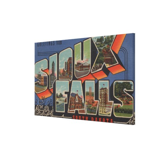 Sioux Falls, South Dakota - Large Letter Scenes Gallery Wrapped Canvas