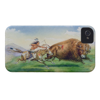 Sioux hunting buffalo on decorated pony (oil on ca iPhone 4 cover