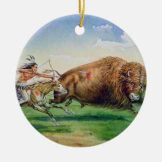 Sioux hunting buffalo on decorated pony (oil on ca round ceramic decoration