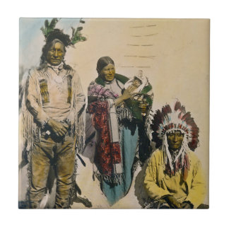 Sioux Indian Grey Eagle and Family Stereoview Small Square Tile