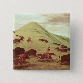 Sioux Indians hunting buffalo, 1835 (oil on canvas 15 Cm Square Badge