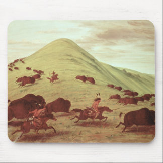 Sioux Indians hunting buffalo, 1835 (oil on canvas Mouse Mat