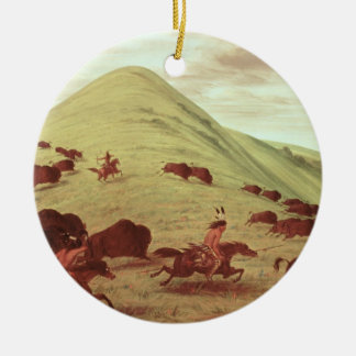 Sioux Indians hunting buffalo, 1835 (oil on canvas Round Ceramic Decoration