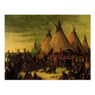 Sioux War Council Tipis by George Catlin Postcards