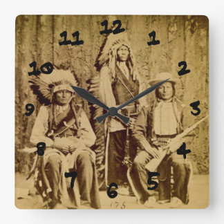 Sioux War Council Vintage Stereoview Square Wall Clock