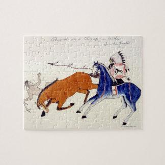 Sioux warrior Aintka Mato unhorsing rival Puzzle