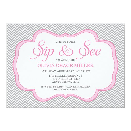 Sip and See Grey Chevron Pink Frame Invitations