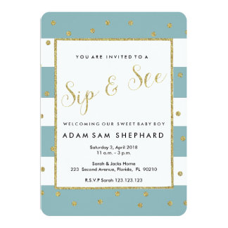 Sip and See invite, new baby, welcome party Card