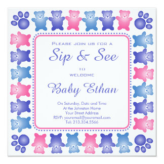 Sip and See Photo Card Template with Teddy Bears 13 Cm X 13 Cm Square Invitation Card