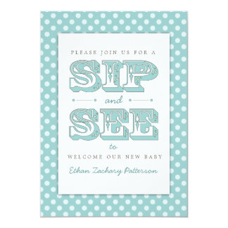 Sip and See Sweet Baby Boy in Teal Invitation