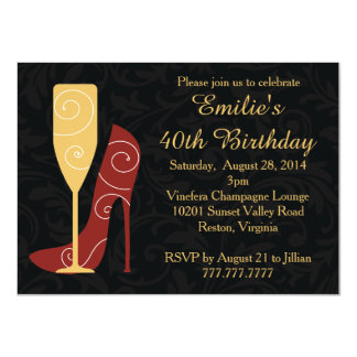 Sip in Style Wine Champagne Birthday Invitations