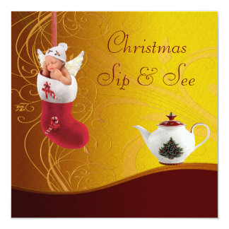 Sip & See Baby in Christmas Stocking Baby Shower Card