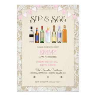 Sip & See Burlap Lace Bottles Pink Girl Bunting Card
