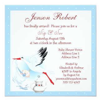 Sip & See Stork Delivering Baby Blue Baby Shower Card