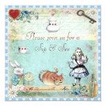 Sip & See Vintage Alice in Wonderland Baby Shower 13 Cm X 13 Cm Square Invitation Card