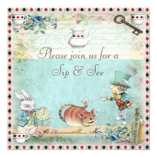 Sip & See Vintage Alice in Wonderland Baby Shower Invitation