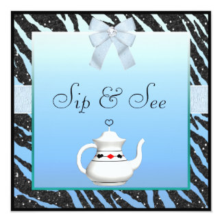 Sip & See Zebra Print Blue & Black Baby Shower Card