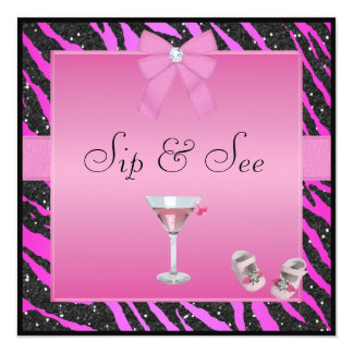Sip & See Zebra Print Pink & Black Baby Shower Card