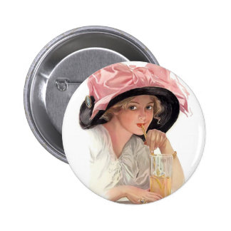 Sipping Soda Girl in Hat 6 Cm Round Badge