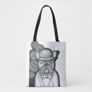 Sir Bouledogue white tote bag