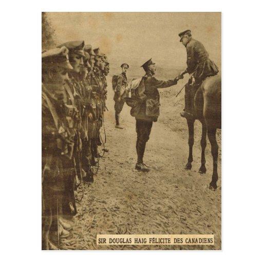 Sir Douglas Haig congratulating Canadian troops Post Cards