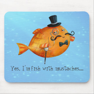 Sir Fishy Mustached Fish Mouse Mat