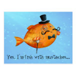 Sir Fishy Mustached Fish Post Card