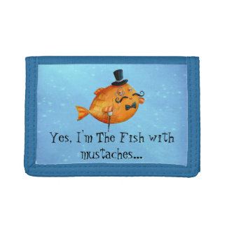 Sir Fishy Mustached Fish Tri-fold Wallet