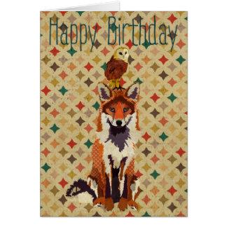 Sir Fox Alot & Owl Birthday Card