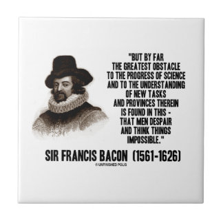 Sir Francis Bacon Obstacle Progress Of Science Small Square Tile